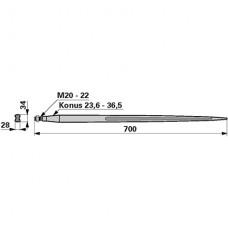 ŠPICA ZA OSO M22x1,5 L=700mm