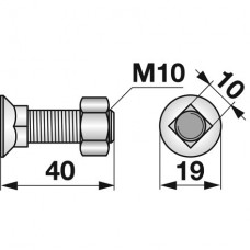 VIJAK LEMEŽA M10x40 10.9 4-KOTNI