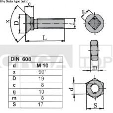 VIJAK LEMEŽA M10x30 4-robi